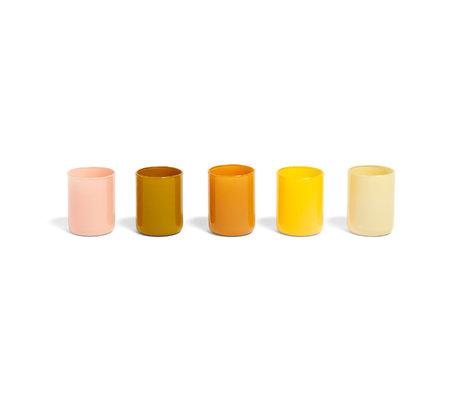 HAY Waxinelichthouder Spot Votive geel glas set van 5 ¯5x6,5cm