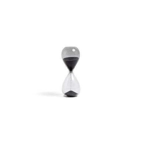 HAY Zandloper Time 3min zwart transparant glas Ø3,5x9cm