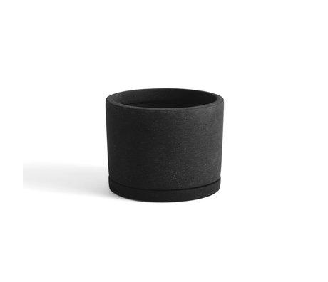 HAY Bloempot met schotel Plantpot L zwart steen Ø19x14,5cm