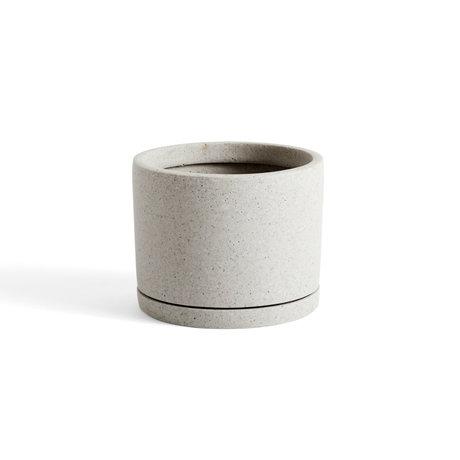 HAY Bloempot met schotel Plantpot L grijs steen Ø19x14,5cm
