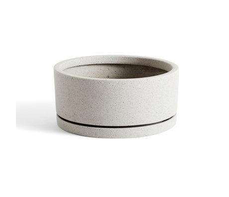 HAY Bloempot met schotel Plantpot XL grijs steen Ø28x12,5cm