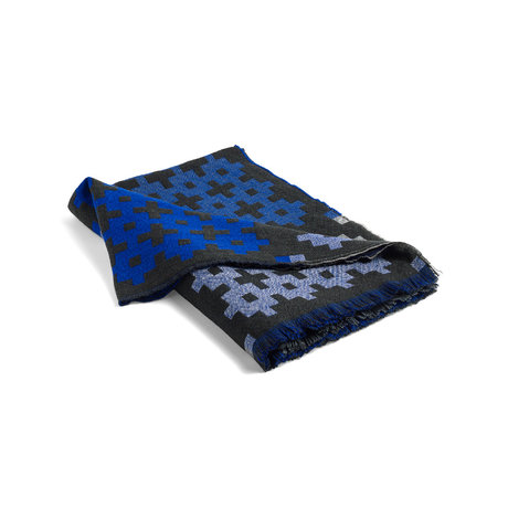 HAY Plaid Plus 9 donkergroen blauw wol 215x145cm
