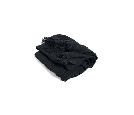HAY Plaid Crinkle donkergrijs katoen 210x150cm