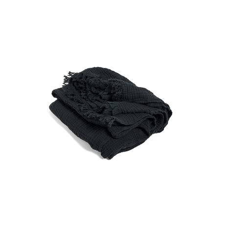 HAY Throw Crinkle dunkelgraue Baumwolle 210x150cm