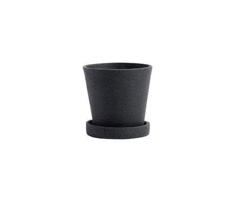 HAY Bloempot met schotel Flowerpot S zwart steen ¯11x10,5cm