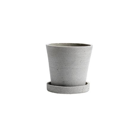 HAY Bloempot met schotel Flowerpot S grijs steen ¯11x10,5cm