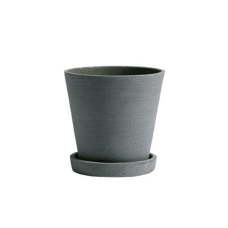 HAY Bloempot met schotel Flowerpot M groen steen ¯14x13,5cm