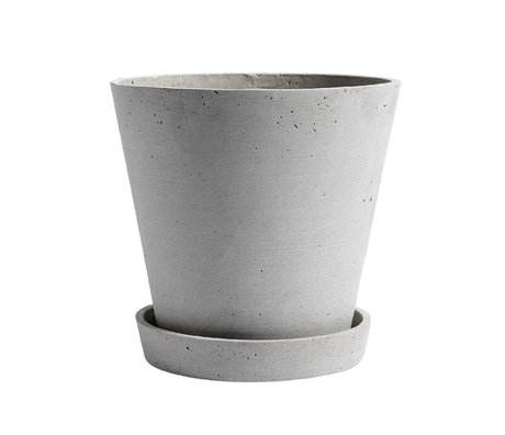 HAY Bloempot met schotel Flowerpot XL grijs steen ¯21,5x20cm