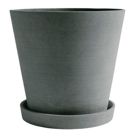 HAY Bloempot met schotel Flowerpot XXXL groen steen ¯34x32cm