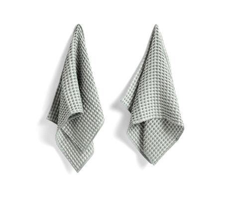 HAY Handdoek + vaatdoekje Twist mintgroen katoen set van 4 29x29cm/65x38cm