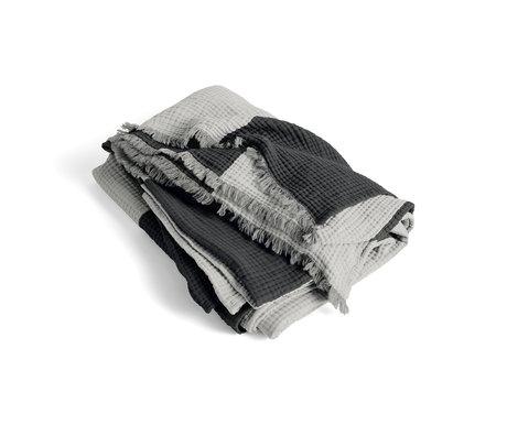 HAY Plaid Crinkle Stripe grijs katoen 210x150cm