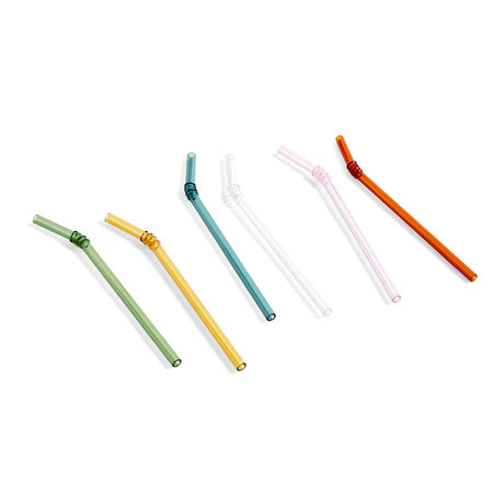 HAY Rietjes Sip Swirl multicolour glas set van 6 Ø0,8x19cm