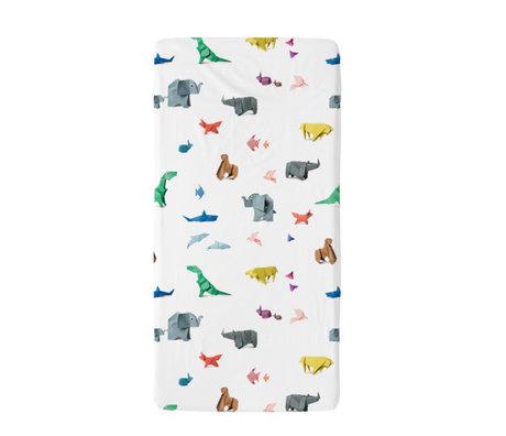 Snurk Beddengoed Bettwäsche Spannbetttuch Paper Zoo mehrfarbiges Textil 60x120cm
