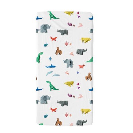 Snurk Beddengoed Beddengoed hoeslaken Paper Zoo multicolour textiel 70x140cm