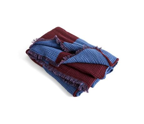 HAY Plaid Crinkle Stripe bordeauxrood blauw katoen 210x150cm
