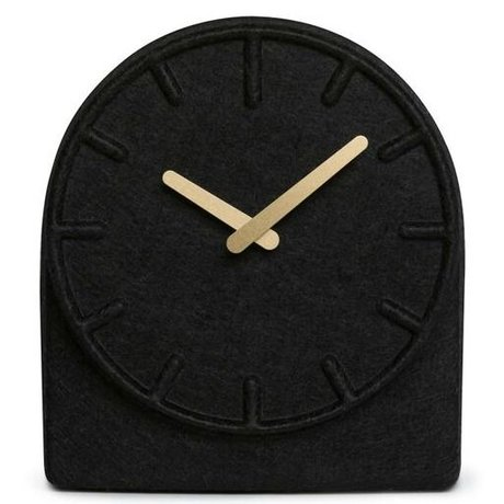 LEFF amsterdam Felt Two black clock with brass hands 19,5x8x21cm