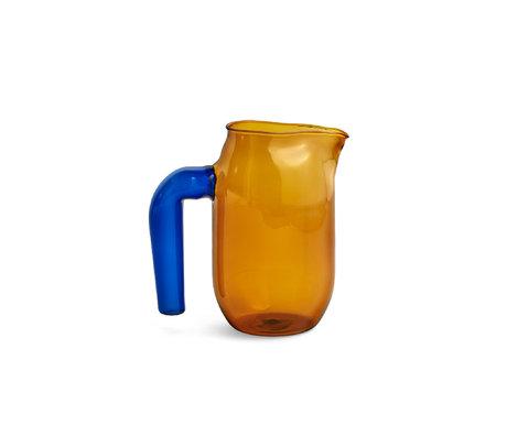 HAY Kan Jug S 950ml terracotta blauw glas ¯10x16,5cm