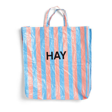 HAY Tas Candy Stripe XL blauw oranje kunststof 64x28x70cm