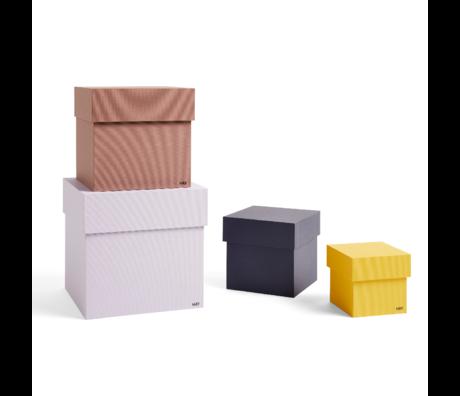 HAY Opbergbox Box lila geel karton set van 4 23x23x23cm