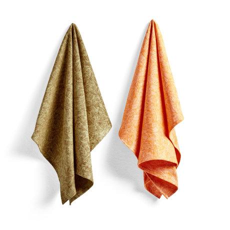 HAY Theedoek No8 Ballpoint Scribble oranje katoen set van 2 75x52cm