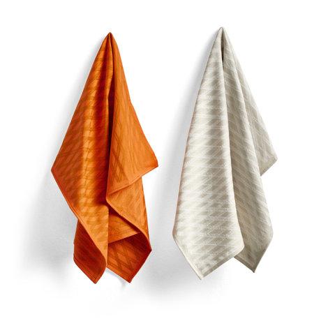 HAY Theedoek No2 Marker Diamond oranje katoen set van 2 75x52cm
