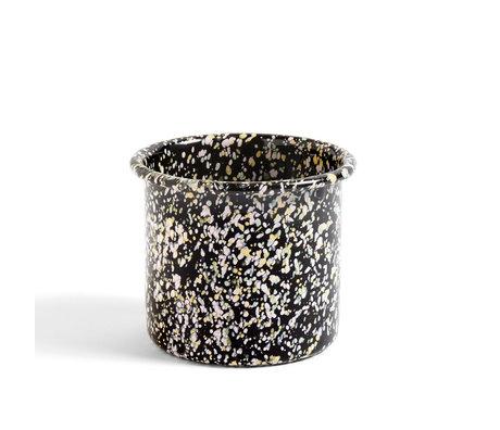 HAY Pot Enamel Sprinkle zwart staal Ø13x11cm