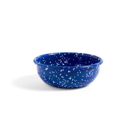 HAY Schaal Enamel M Speckle blauw staal Ø15x5cm