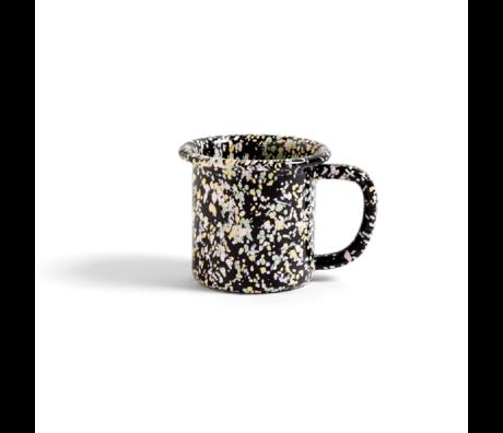 HAY Mok Enamel 250ml Sprinkle zwart staal ¯8,5x7,5cm