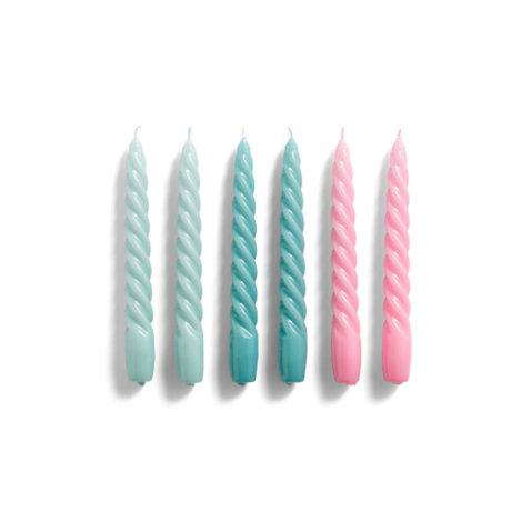 HAY Kaarsen Twist blauw roze wax set van 6 ¯2,3x19cm