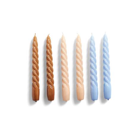 HAY Kaarsen Twist bruin lila wax set van 6 ¯2,3x19cm