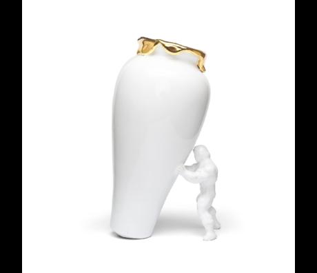 Jasmin Djerzic Vaas My Superhero wit goud keramiek 30x19x15cm