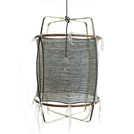 Ay Illuminate Hanging lamp with bamboo gray silk cashmere cover ø48.5x72,5cm