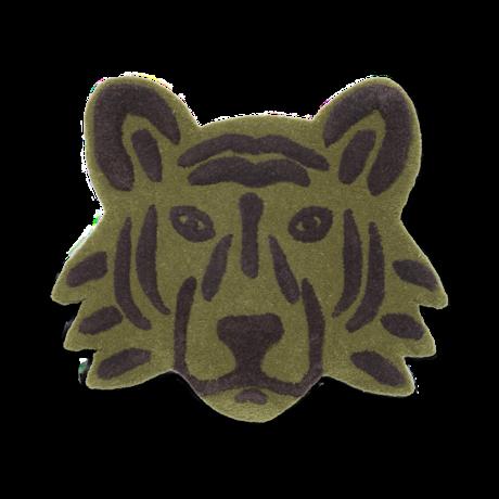 Ferm Living Vloerkleed Tiger Head groen getuft wil 66,2x3x57,2cm