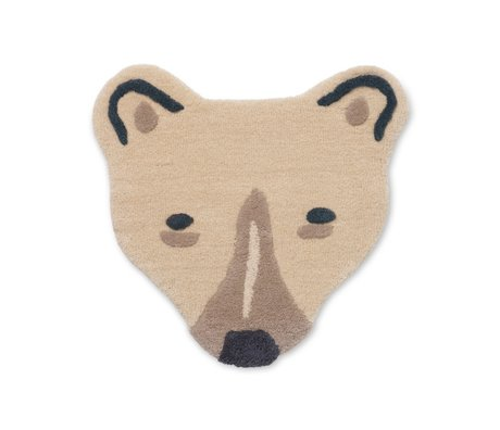 Ferm Living Vloerkleed Polar Bear Head gebroken wit getuft wol 60x3x57,2cm