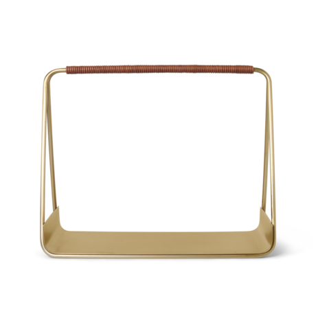 Ferm Living Opbergmand Port goud metaal leer 50x24x40cm