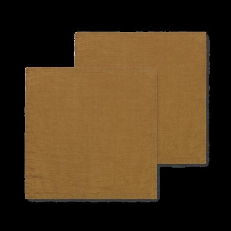 Ferm Living Servet Linen bruin linnen 45x45cm set van 2