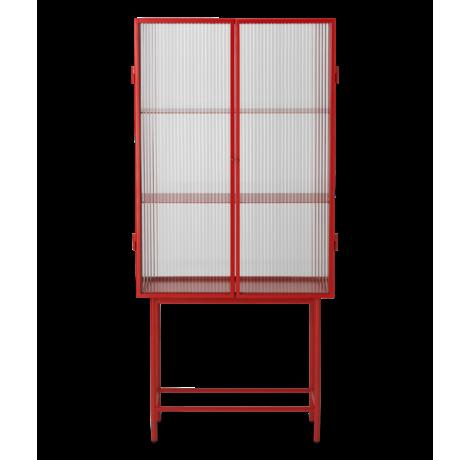 Ferm Living Vitrinekast Haze rood rietglas metaal 70x32x155cm