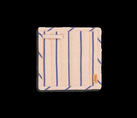 Ferm Living Pannenlappen Hale roze blauw katoen linnen 20x1x20cm set van 2