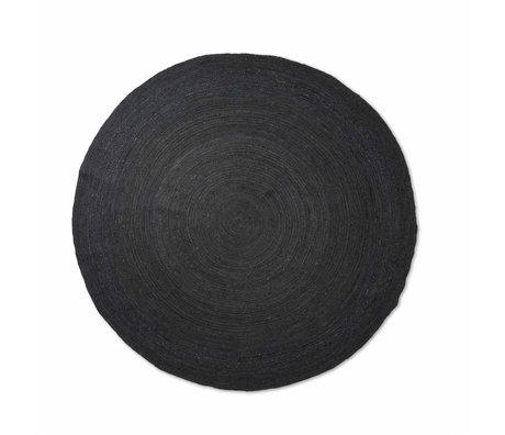 Ferm Living Vloerkleed Eternal rond small zwart handgevlochten jute Ø120cm