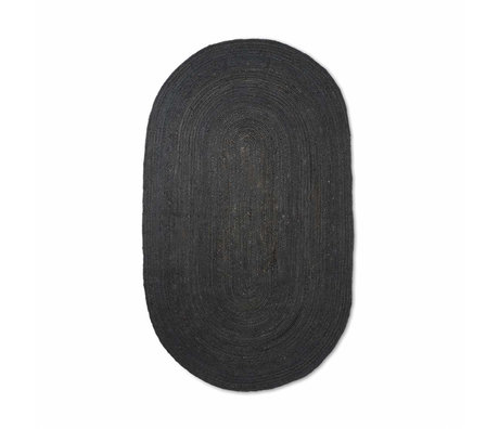 Ferm Living Vloerkleed Eternal ovaal small zwart handgevlochten jute 140x200cm