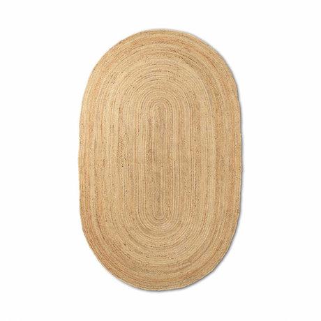 Ferm Living Vloerkleed Eternal ovaal small natuur bruin handgevlochten jute 140x200cm