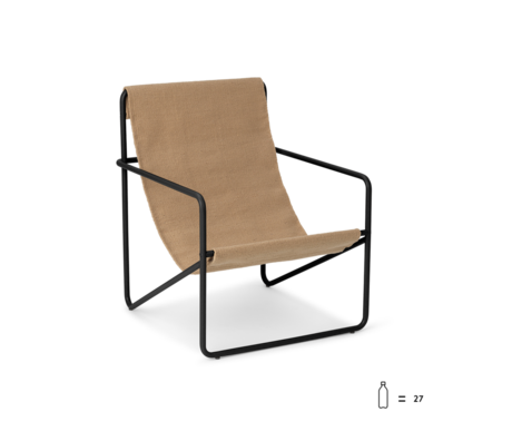 Ferm Living Loungestoel Desert Kids zwart massief kasjmier staal en textiel 45x47,5x55,5cm