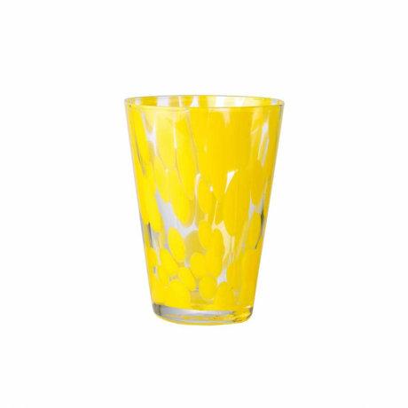 Ferm Living Glas Casca geel mongeblazen glas 8,5x9x11,5cm