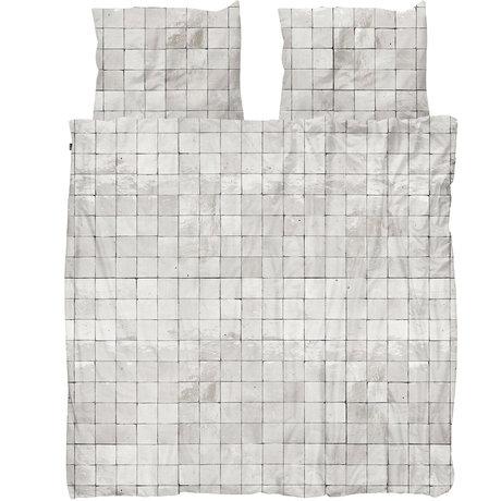 Snurk Beddengoed Snurk beddengoed dekbedovertrek Tiles Pearl White textiel 200x200/220cm