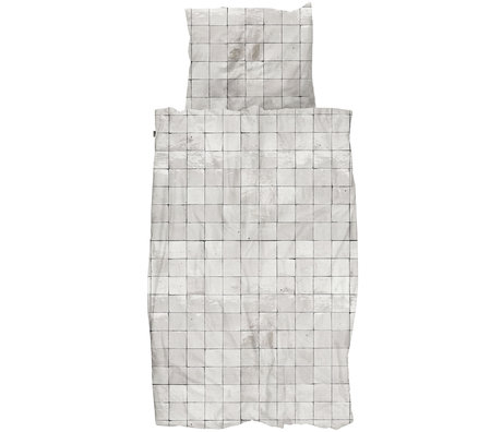 Snurk Beddengoed Snurk beddengoed dekbedovertrek Tiles Pearl White textiel 140x200/220cm