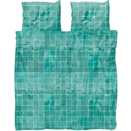 Snurk Beddengoed Snurk beddengoed dekbedovertrek Tiles Emerald Green textiel 260x200/220cm