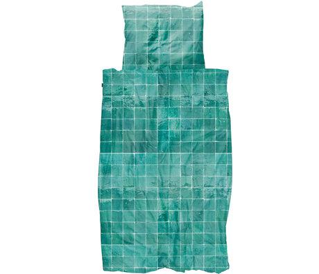Snurk Beddengoed Snurk beddengoed dekbedovertrek Tiles Emerald Green textiel 140x200/220cm