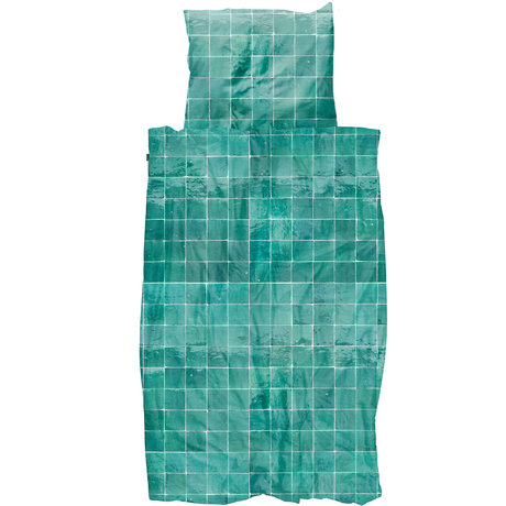Snurk Beddengoed Housse de couette literie Snurk Tiles textile vert émeraude 140x200 / 220cm