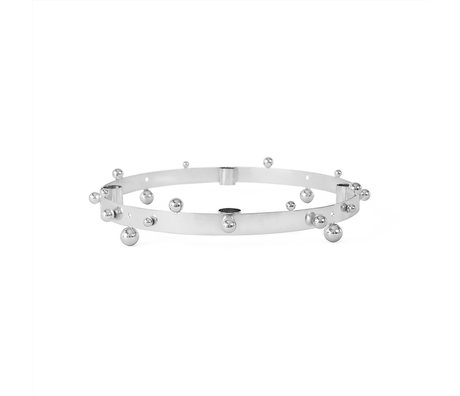 OYOY Kaarsenhouder Pearl Advent zilver metaal Ø33x5,5cm