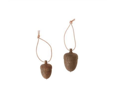 OYOY Decoratie Acorn donker bruin hout set van 2 Ø5x8cm / Ø4x6,5cm